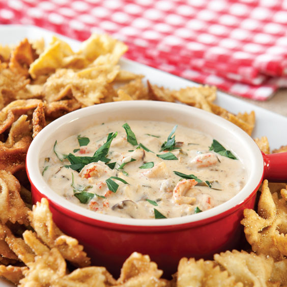 Crawfish Dip with Fried Bow Tie Pasta