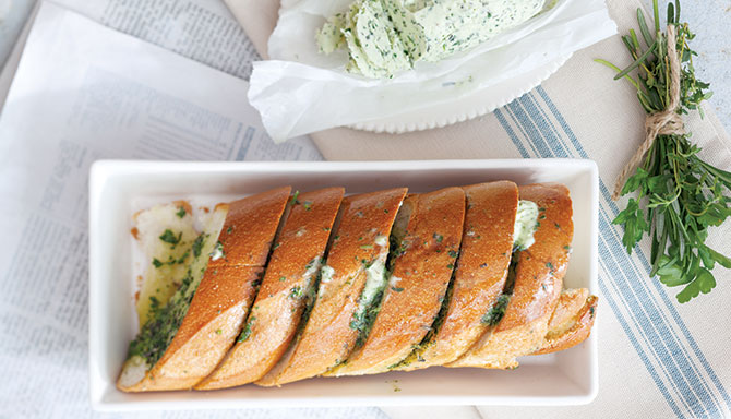 Baguette with GreenHerb Butter Recipe