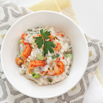 crawfish and fava bean risotto