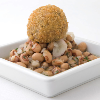 Fried Hogs Head Cheese with Black-eyed Pea and Sweet Potato Vinegar Caviar