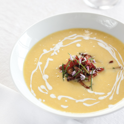 Corn Soup with Pork Belly Marmellata