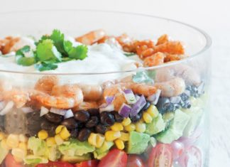 Southwest Layered Salad with Shrimp and Cilantro Lime Dressing