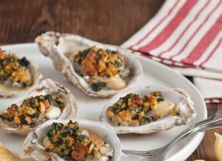 Broiled Oysters with Spinach and Andouille