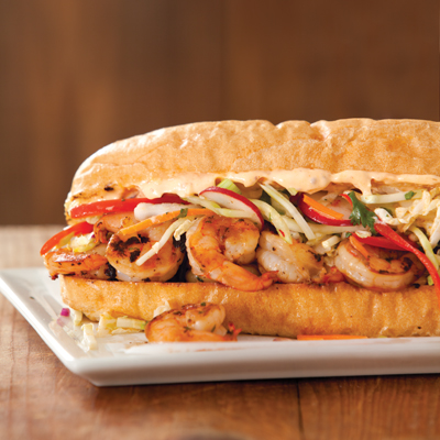 Grilled Shrimp Po' Boy with Asian Slaw