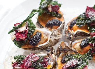 Roasted Oysters with Fried Kale
