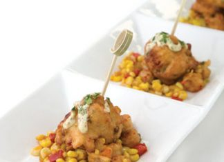 Shrimp and Andouille Beignets with Crawfish Corn Maque Choux