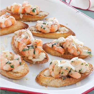 Creamy Garlic Shrimp Crostini