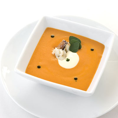 Smoked Tomato Soup with White Wine Crab and Crème Fraîche