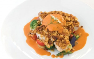 Zapp's-crusted Cobia with Garden Vegetable Hash and Smoked Tomato Butter Sauce