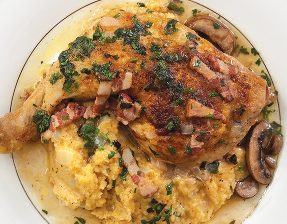 Rice Grits with Braised Chicken and Crushed Herbs
