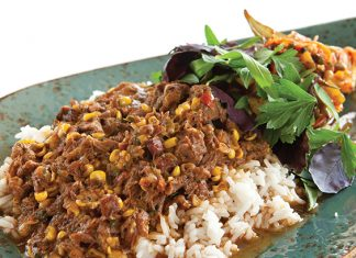 Braised Lamb with Corn Maque Choux