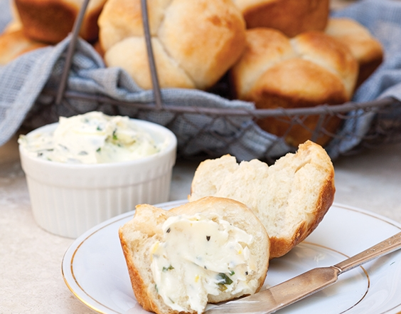 Simple Yeast Rolls with Herb Butter