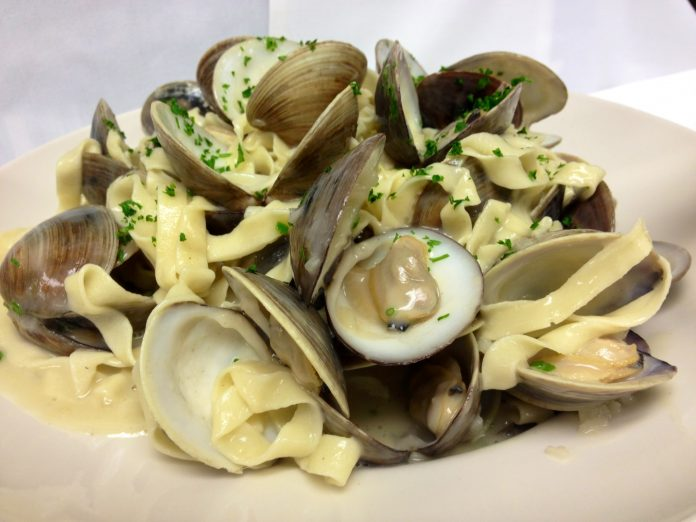 Feast of the Seven Fishes at GW Fins in New Orleans. Linguine with clams. Photo courtesy of GW Fins.