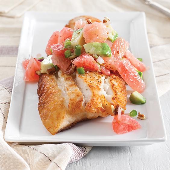 snapper with pomelo-avocado salsa