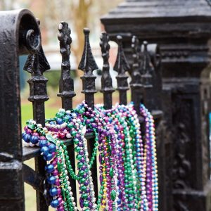 Fence with Mardi Gras Beads