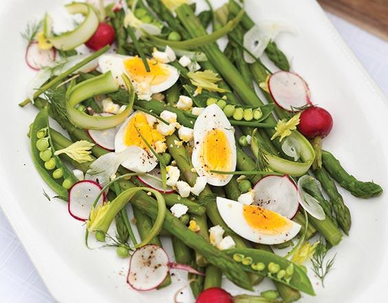 Spring Vegetables with Deviled Egg Vinaigrette