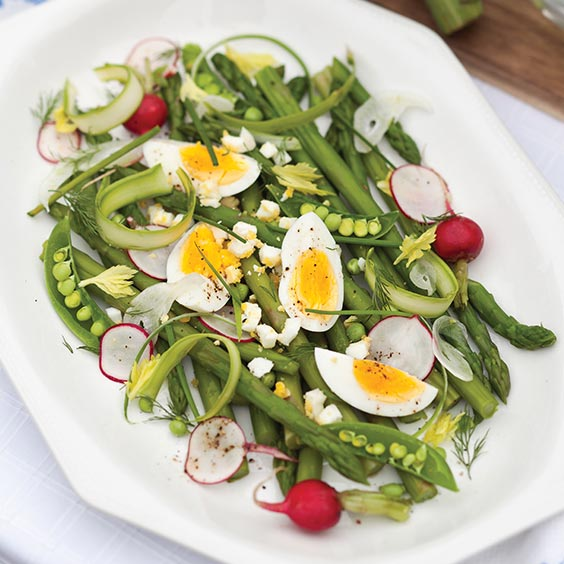 Spring Vegetables with Deviled Egg Vinaigrette