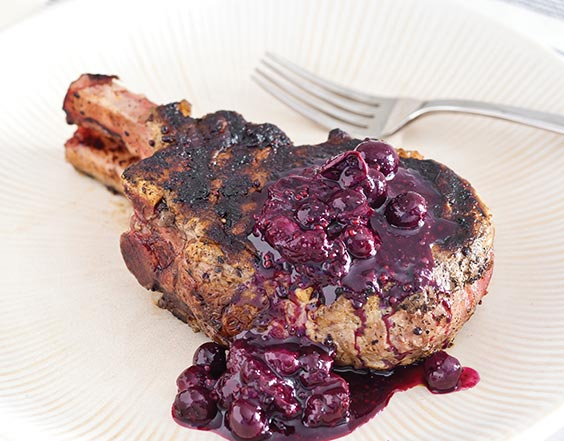 Grilled Pork Chops with Blueberry Mostarda