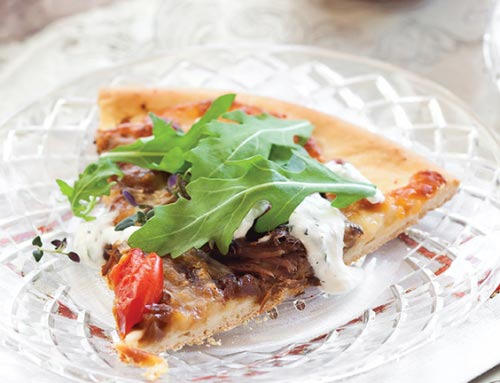Braised Beef Flatbread with Horseradish Cream