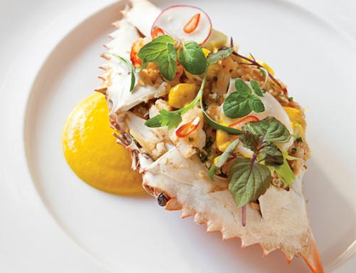 ... Crab Shell with Royal Red Shrimp, Green Papaya, Chile, and Peanut
