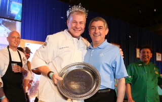New Orleans Chef Michael Brewer is crowned 2015 King of Louisiana Seafood by Louisiana Lieutenant Governor Jay Dardenne