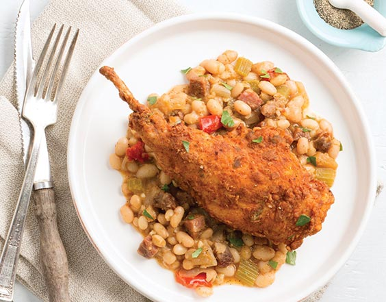 Chicken-Fried Rabbit with Smoked Tasso 
