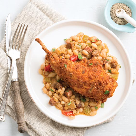 Chicken-Fried Rabbit with Smoked Tasso White Beans