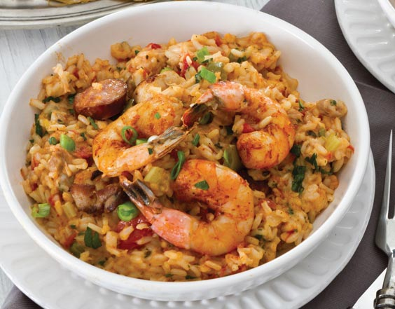 Chicken, Andouille, and Shrimp Jambalaya