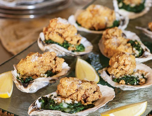 Fried Oysters Over Creamed Spinach