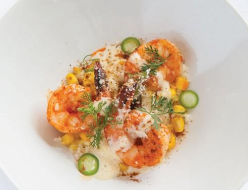 Chile-Marinated Shrimp with Corn Esquites