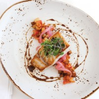 Pan Seared Amberjack with Warm Potato and Crawfish Salad