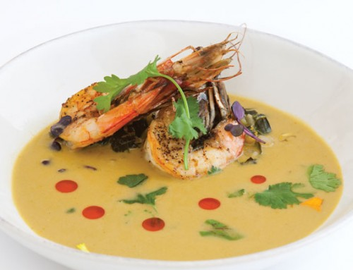Cushaw and Shrimp Curry Bisque with Mustard Greens