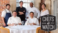 2016 Chefs To Watch - From left: Chef Phillip Mariano, Chef Nathan Richard, Chef Ashley Roussel, Chef Lyle Broussard (back), Chef Gabriel Balderas, Chef Ruby Bloch