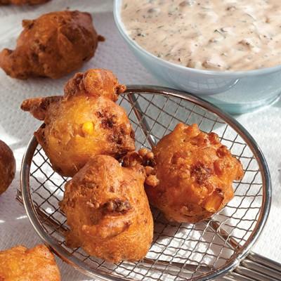 crawfish and corn beignets
