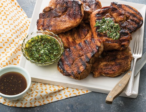 Pork Steaks with Chimichurri and Balsamic Fig Glaze