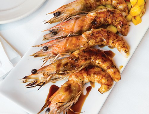 Pomegranate-Glazed Shrimp with Mango Salsa
