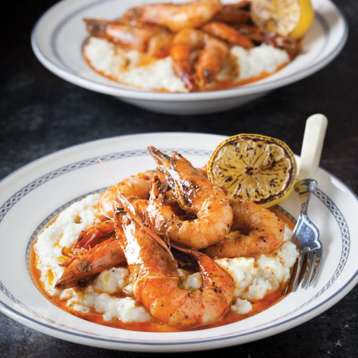 BBQ Shrimp and Hatch Green Chile Grits