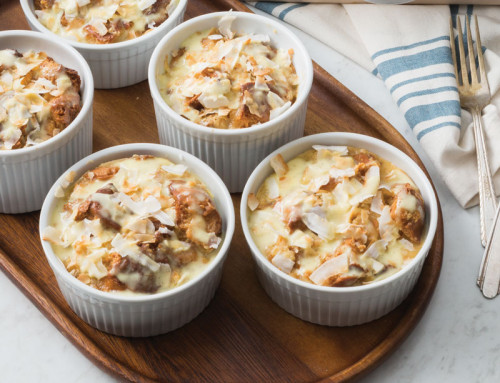 Toasted Coconut Tres Leches Bread Puddings