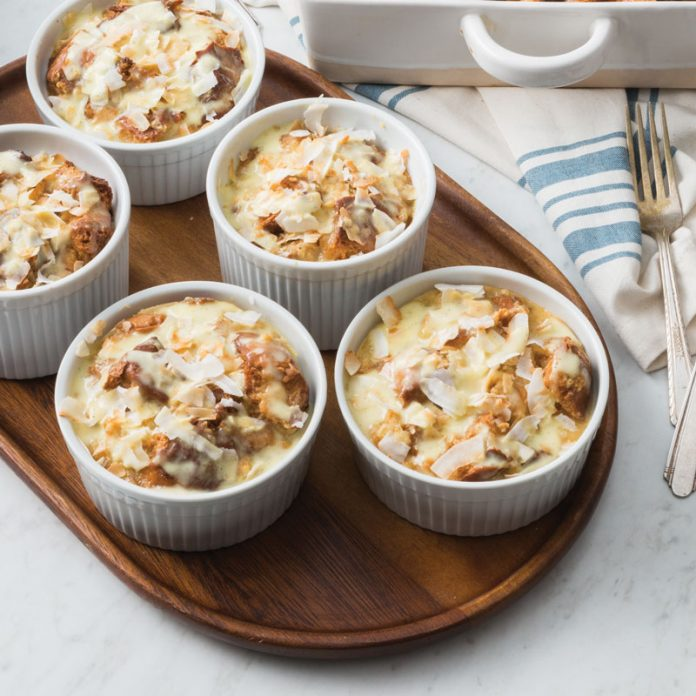 coconut tres leches bread puddings
