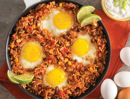 Mexican Rice and Beans Baked Eggs