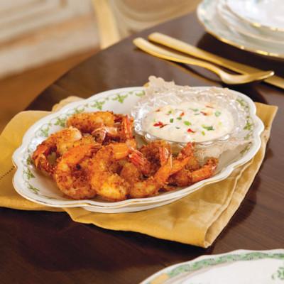 Fried Shrimp with Creamy Parmesan Sauce