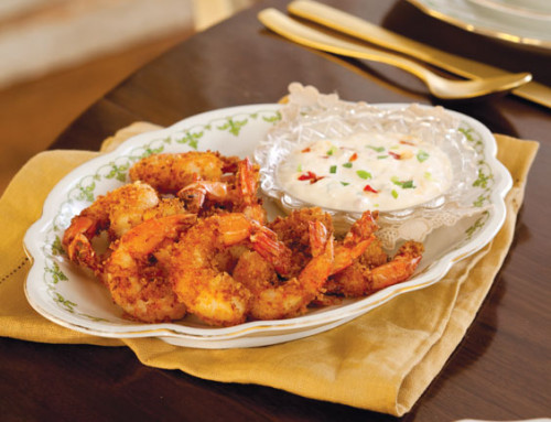 Fried Shrimp with Creamy Parmesan Sauce