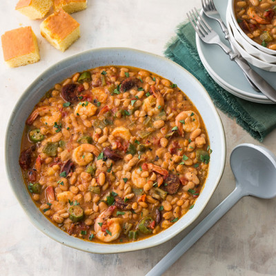 Great Northern Beans with Andouille and Shrimp