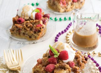 Raspberry Bourbon King Cake Bread Pudding