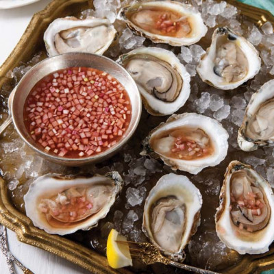 Oysters on half shell mignonette