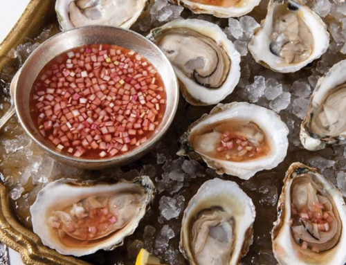 Oysters on the Half Shell with Blood Orange-Cognac Mignonette