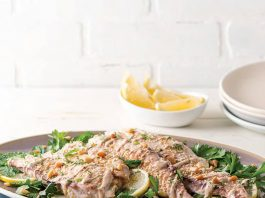 Speckled Trout with Tahini and Pine Nuts