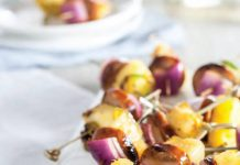 Spicy Grilled Andouille Sausage and Pineapple Skewers