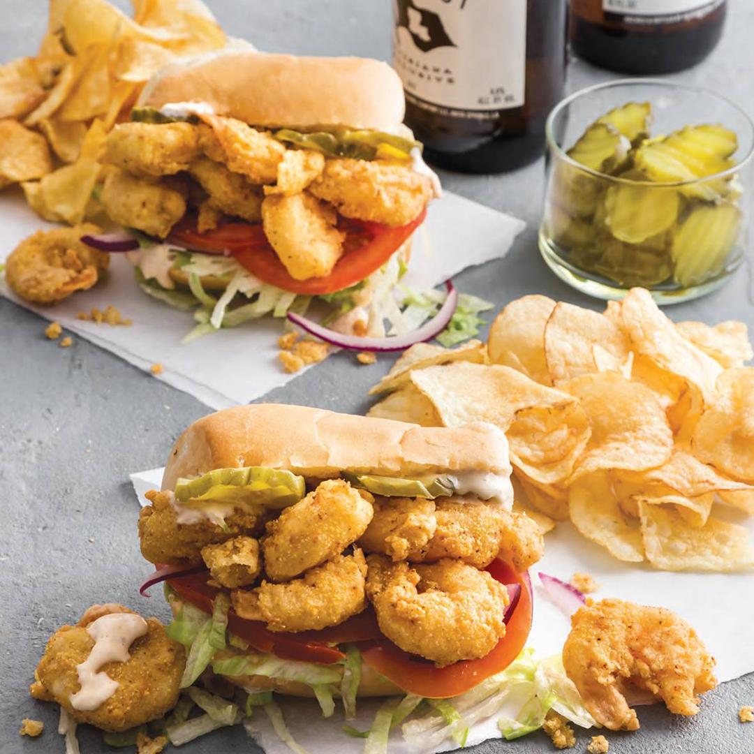 Fried Shrimp Mini Po' Boys with Lemon Rémoulade
