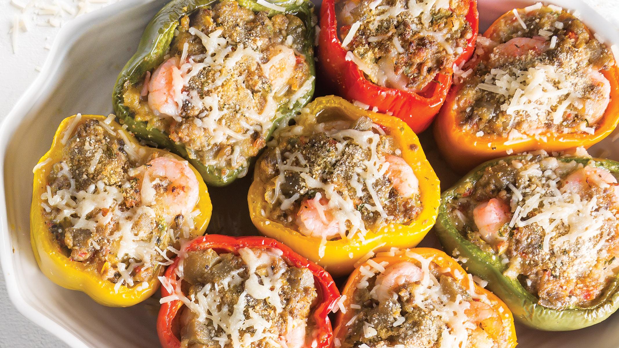 Chef John Folse S Eggplant Stuffed Bell Peppers With River Shrimp